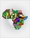 3d African continent. 3d Outline maps of the countries in African continent Royalty Free Stock Image