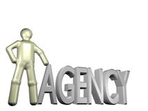 3d agency. An illustrated person standing beside the word agency Royalty Free Stock Images