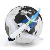 3d airplane with earth glob. 3d airplane jet with earth globe on white background Stock Photography