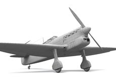 3D airplane model. 3D classic airplane (fighter) model standing on white background Stock Photography