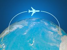 3d Airplane Route on world map Royalty Free Stock Photography