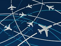 3d Airplane Routes, blue background. Concept of transport Royalty Free Stock Photography