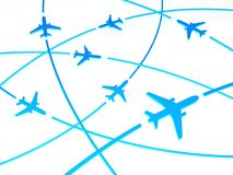 3d Airplane Routes, white background. Concept of transport Stock Image