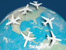 3d Airplane Routes on world map. Concept of transport Royalty Free Stock Images