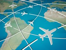 3d Airplane Routes on world map. Concept of transport Royalty Free Stock Photo