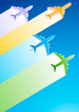 3D Airplanes. Gradient Color Commercial Airplanes Vector Illustration Stock Image