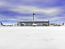3D Airport front view. 3D Airport with planes front view Royalty Free Stock Photography