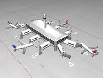 3D Airport render. 3D airport top aerial view Royalty Free Stock Photos