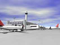 3D airport side view. 3D Airport terminal side view Stock Photos