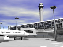 3d Airport terminal. Close up Stock Photo