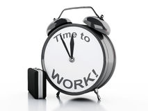 Free 3d Alarm Clock With Words Time To Work On Its Face. Stock Images - 62110254