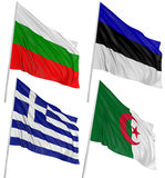 3D Algerian, Bulgarian, Greek, Estonian, flag Stock Photos