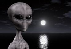 3D alien. 3D illustration of an alien against a moonlit ocean Royalty Free Stock Photos