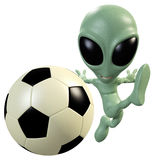 3D alien kicking a ball Stock Photo