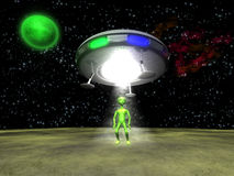 3D Alien with UFO. 3D Alien with a UFO on green planet Stock Photos