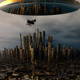 3d alien UFO space ship. Above night Royalty Free Stock Photography
