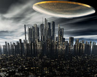 3d alien UFO space ship. Above night city Royalty Free Stock Photography