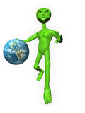 3D Alien on white background holding Earth Stock Photography