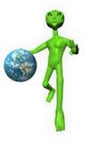 3D Alien on white background holding Earth. 3D Alien on a white background holding earth Stock Photography