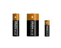 3D alkaline batteries set. 3D three types of alkaline batteries set not rechargeable. Model 3D - you can rotate and change position in 3D Royalty Free Stock Images
