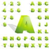 3d alphabet. Green 3d alphabet. Vector set