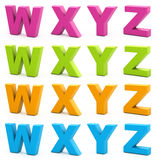 3d alphabet. Colorful alphabet. Set of 3d letters isolated on white. Part 6 of 6 Royalty Free Stock Photography