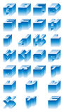 3D Alphabet. Blue 3D Alphabet illustrations on white Stock Photo