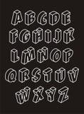 3D alphabet. Black 3D alphabet on black background Stock Photos