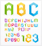 3D alphabet. Paper 3D alphabet letters and numbers Stock Photo