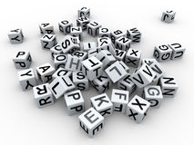 3d alphabet boxes. 3d render of heap of alphabets boxes Royalty Free Stock Photography