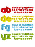 3d alphabet in different colours. Vector illustration of 3d styled alphabet Royalty Free Stock Photo