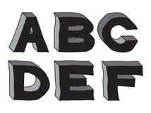 3d alphabet of stone (part 1). Hand-drawn 3d alphabet of stone (part 1 Stock Photos