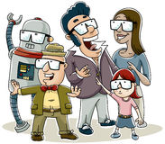 3D Amazement. A group of cartoon people experiencing the amazement of 3D glasses Royalty Free Stock Photos