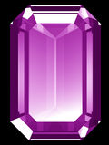 3d Amethyst. A render of a 3d Amethyst gem isolated on a black background Stock Photos
