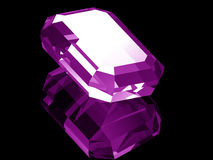 3d Amethyst. A render of a 3d Amethyst gem isolated on a black background with reflection stock illustration