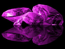 3d Amethyst Gems Isolated. A 3d illustration of amethyst gems isolated on a black background Stock Photos