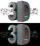 3d Anaglyph Concept Red-Cyan. 3d Stereo Anaglyph 3D Text with Geometric shapes. Include 2 version. White & Black Background. 16/9 HD Ratio. For red-cyan anaglyph Stock Photos