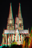 3D anaglyph stereo image Cologne Cathedral. Beautiful 3D anaglyph stereo image of Cologne Cathedral in night. Useful file for your religious brochure, german royalty free stock photography