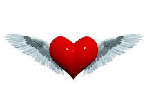 3d angel heart. 3d red heart with white-grey wings like angel Stock Photo