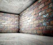 3d angolo, interiore concreto del mattone Fotografia Stock Libera da Diritti