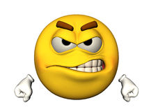 3D angry emoticon. 3D illustration of an angry yellow emoticon, isolated on a white background Stock Image
