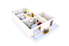 3D Apartment architecture Royalty Free Stock Images