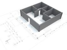 3d apartment on blueprint Stock Photos