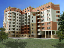3d apartment building. Modern apartment building created in 3d Stock Images