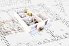 3d apartment plan. Apartment architecture plans with 3D building structure Royalty Free Stock Image