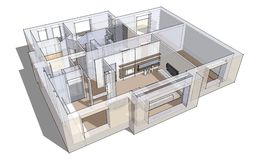 3d apartment sketch. On a white background in lines Royalty Free Stock Images