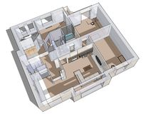 3d apartment sketch. On a white background in lines Royalty Free Stock Photo