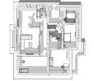 3d apartment sketch. On a white background in lines Stock Photos
