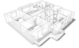 3d apartment sketch. On a white background in lines Royalty Free Stock Image