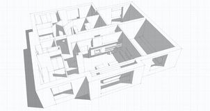 3d apartment sketch. On a white background in lines Stock Image